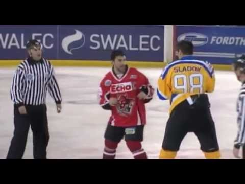 Jozef Sladok vs Ryan Finnerty EIHL fight 22-12-10