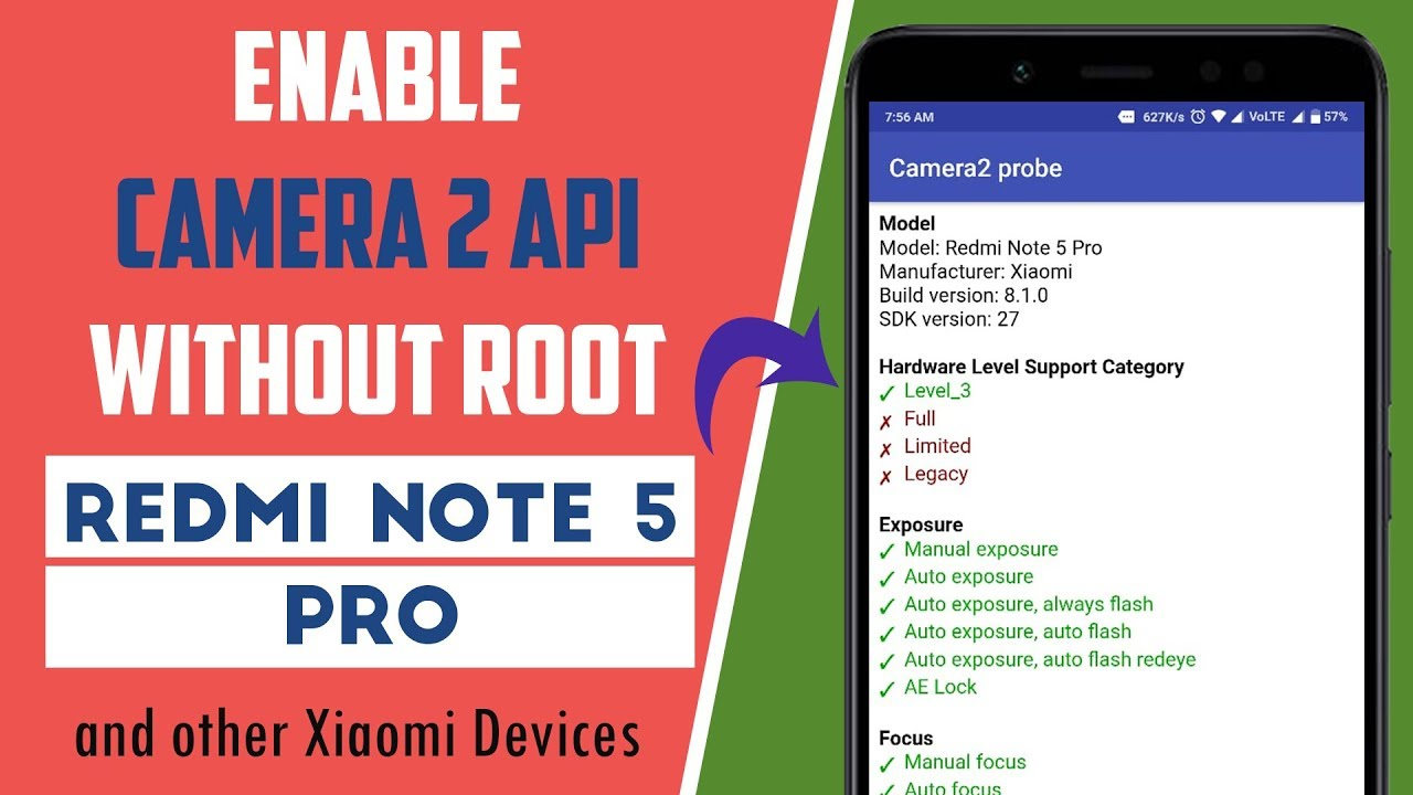 Enable Camera 2 API on Redmi Note 5 PRO Without ROOT | हिंदी