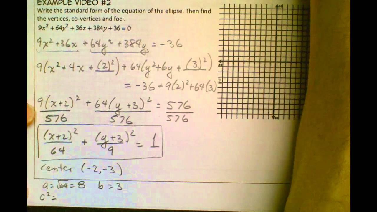 Ellipse Example Problems - Video #2