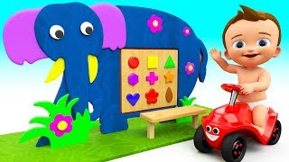 Elephant Shapes Wooden Toy 3D - Learning Shapes & Colors for Children Kids Baby Educational Toys