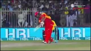 Khalid Latif 108 meter six for Islamabad united against Peshawar Zalmi