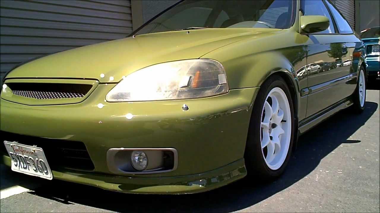 1996 1998 Olive Green Honda Civic Ek Coupe W Optional Rear Fog Youtube