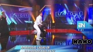 Aparatosas caídas en las pistas de baile de la televisión (América Noticias 20-11-2011)