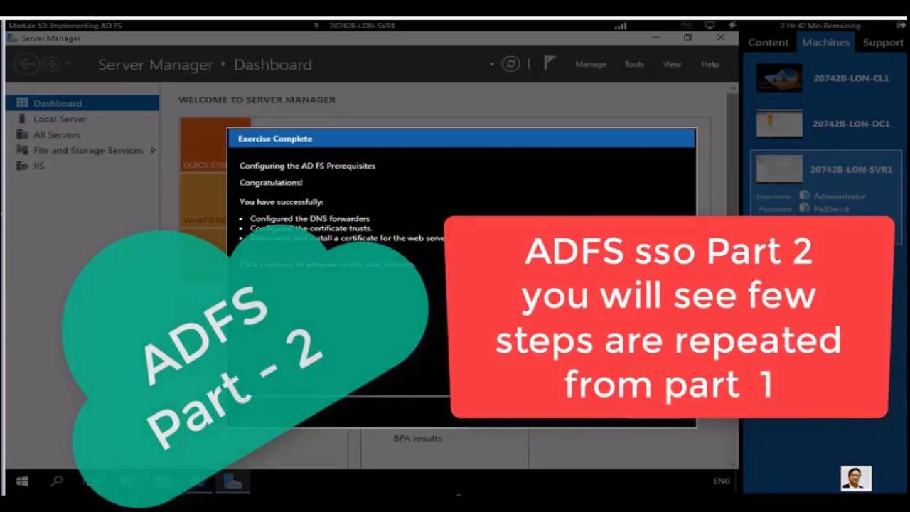 ADFS single sign on part 2 windows server 2016 - 20742B M10