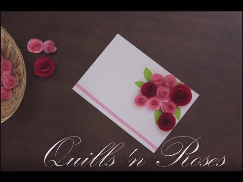 DIY Paper Rose greeting card (Quills & Roses)