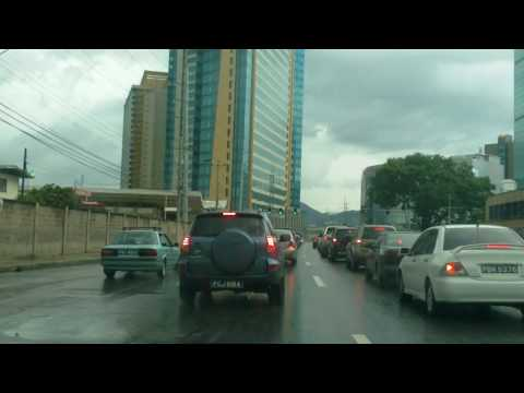 driving through Port of Spain , Trinidad
