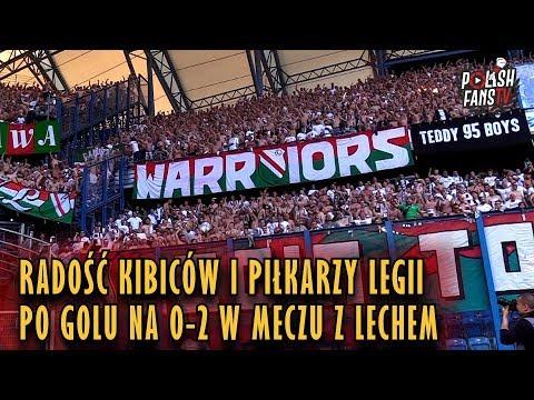 Radość kibiców i piłkarzy Legii po golu na 0-2 w meczu z Lechem (20.05.2018 r.)