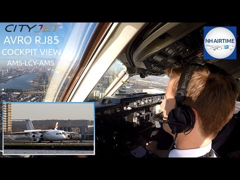 CITYJET AVRO RJ85 COCKPIT VIEW SCHIPHOL to LONDON CITY