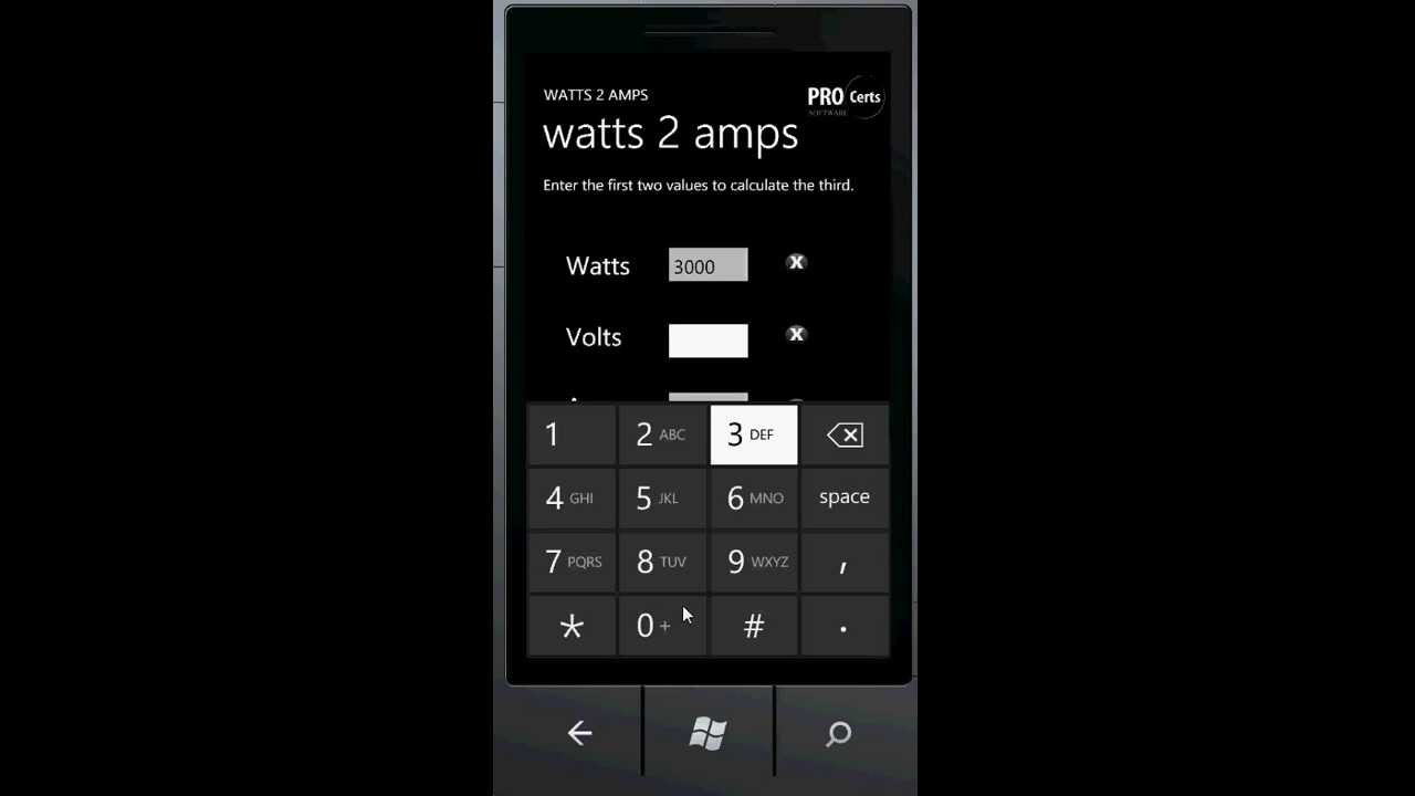 Watts To Amps Converter Calculator For Windows Phone Youtube