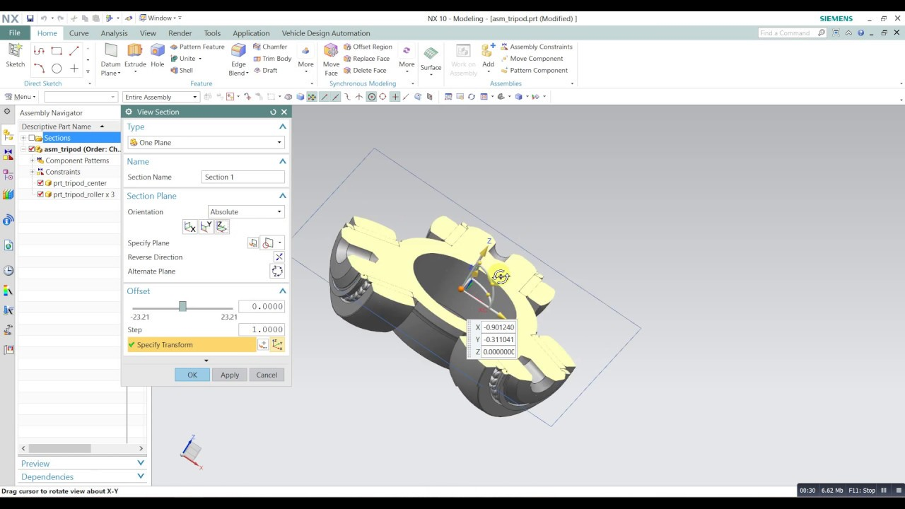 Siemens Nx View section / Drafting section in NX siemens