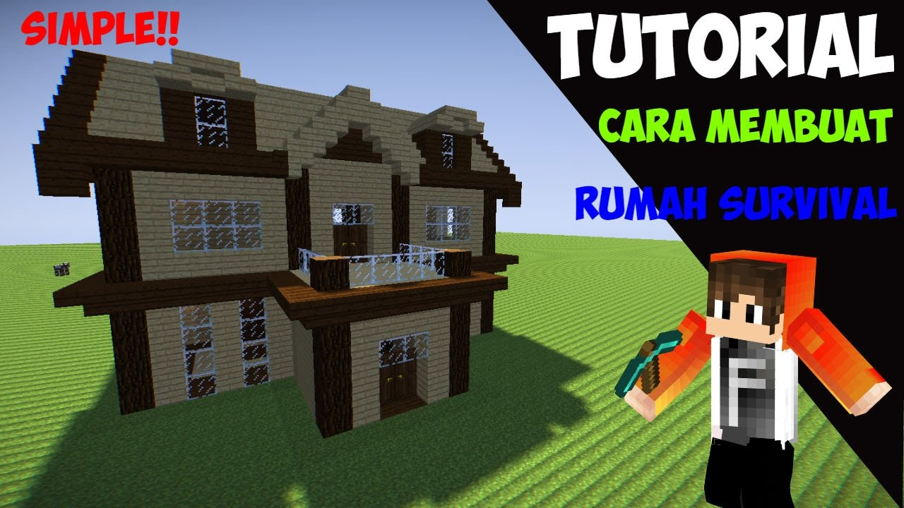 Minecraft Tutorial Cara Membuat Rumah Survival 3 Youtube