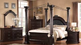 5 Pc Roman Empire Ii Collection Dark Cherry Finish Wood Queen 4 Poster Bedroom S