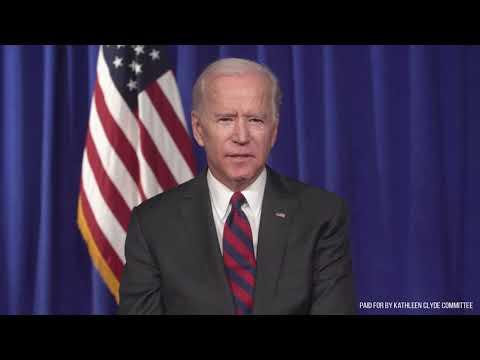 Joe Biden supporting Kathleen Clyde