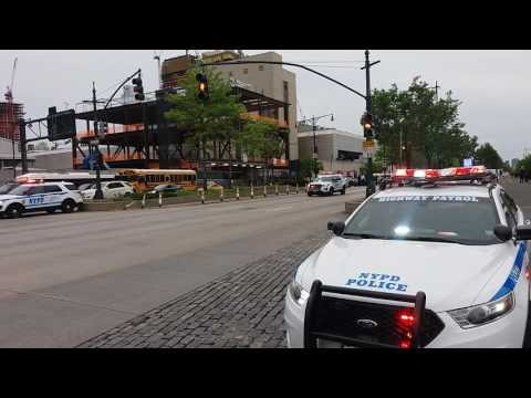 NYPD Units Zipping By ALong The West Side Highway In Manhattan, New York