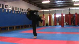 Jumping Back Thrust Kick