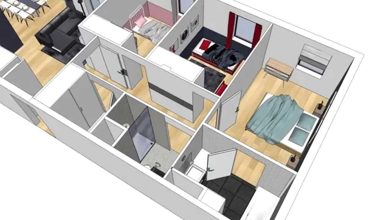 Alix delclaux architecte interieur animation plan 3d appartement youtube for Plan interieur de maison en l