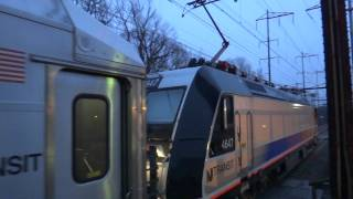NJ TRANSIT Northeast Corridor : Trenton - bound ALP-46A #4647 w/ Multilevels at Metuchen