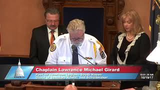 Sen. Kowall welcomes Chaplain Girard to deliver the invocation at the Michigan Senate