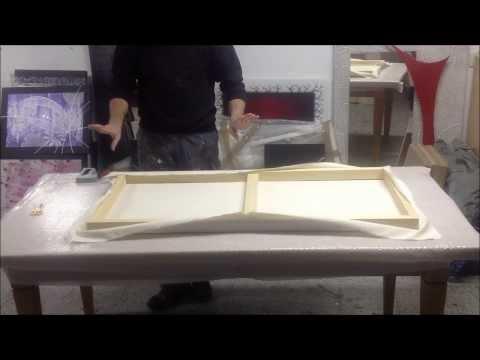 Como montar un lienzo en un bastidor en casa doovi - Como enmarcar un lienzo ...