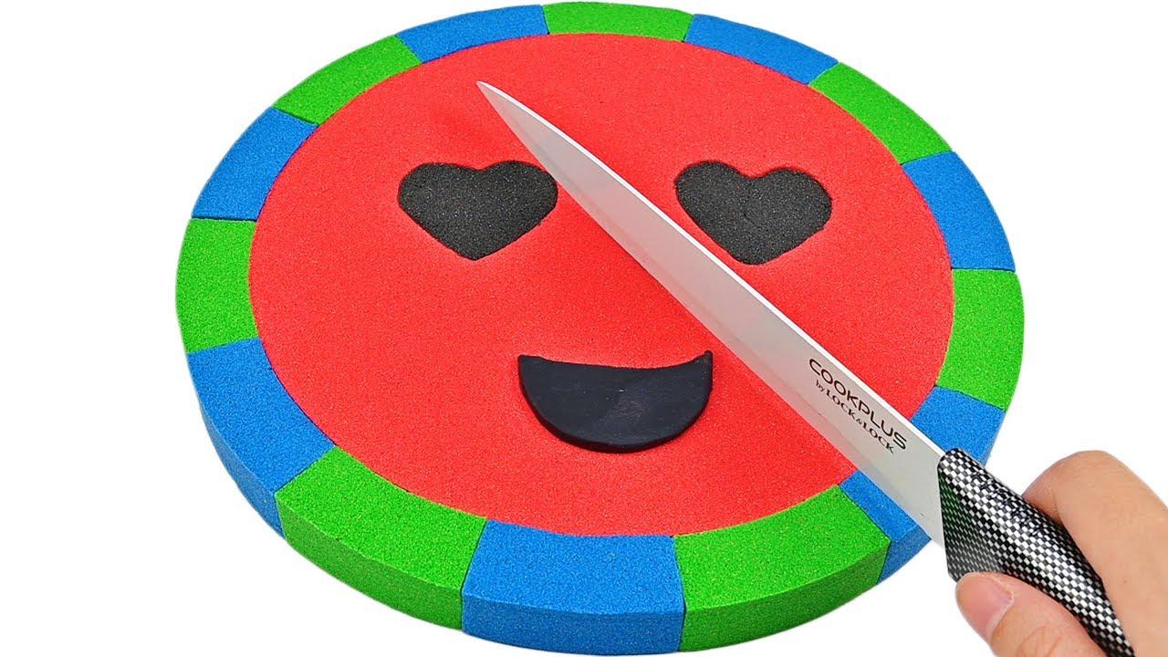 Satisfying Video   How To Make Kinetic Sand Watermelon Emoji Cutting ASMR
