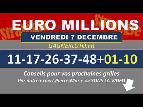 EUROMILLIONS NUMEROS GAGNANTS TIRAGE VENDREDI 07 DECEMBRE