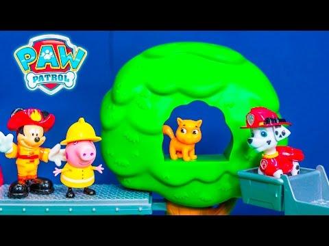 PAW PATROL Nickelodeon Marshall Fireman Training Center + Mickey Mouse + Peppa Pig Toys Video