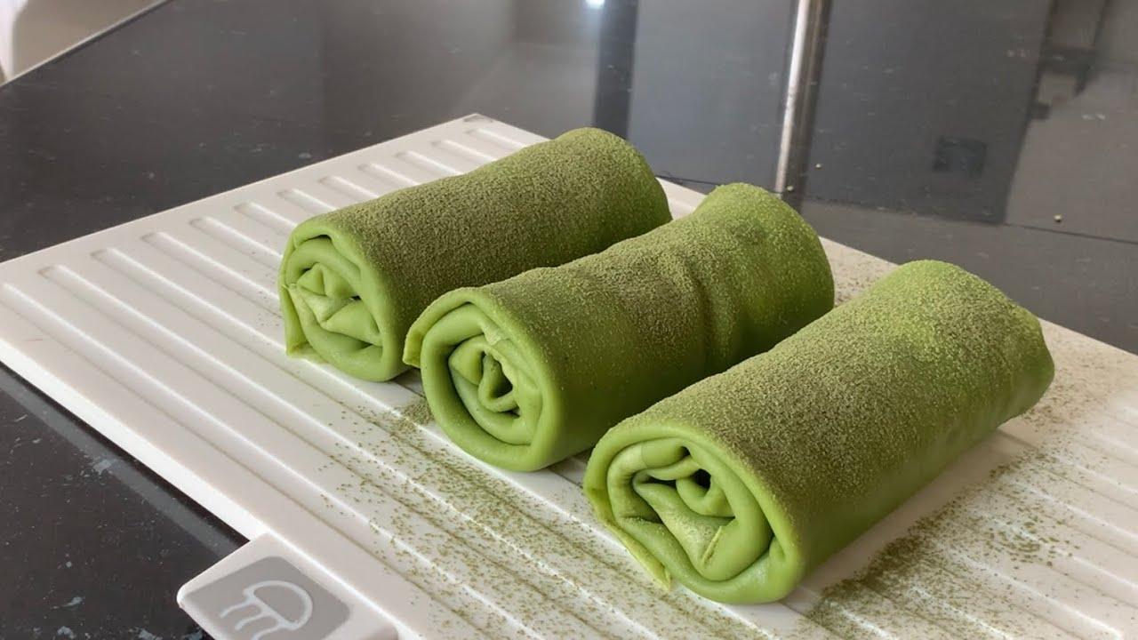 Matcha mille crepe roll cake, dessert for matcha lovers