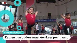 Kinderen in China trainen keihard op een acrobatenschool