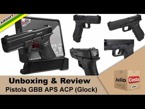 Unboxing e Review - Pistola APS ACP (tipo Glock) GBB CO2