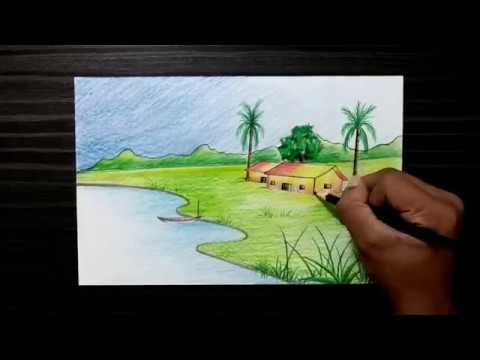 Village Drawing Nature Scenery Drawing For Kids Easy Step