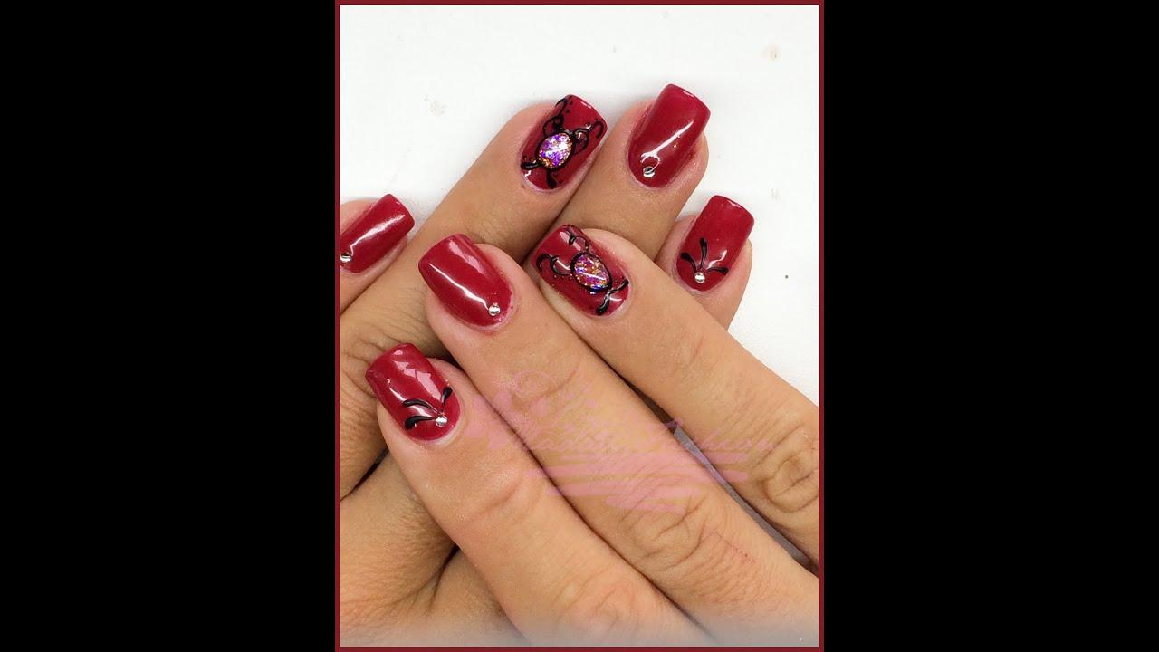 spesso Nail Art - Monocolore rosso con gioiello (Ricostruzione) || Madda  EL06