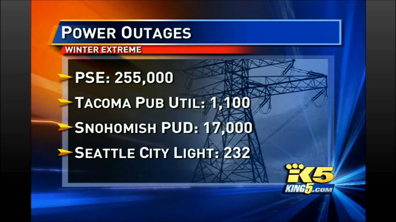 300,000 People out of power Washington state 1 20 12