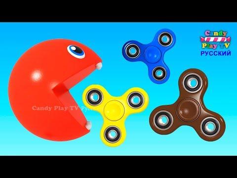 Пакман и Цветные Спиннеры | Развивающие мультфильмы для малышей | Учим цвета с Пакманом для детей