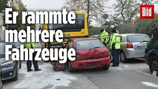 Am montagmorgen raste eine mann mit seinem auto in einen bvg-linienbus, nachdem er zuvor mehrere andere fahrzeuge rammte. der autofahrer starb noch unfall...