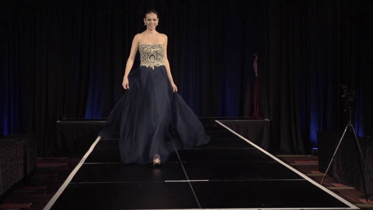 d32b95c729f Clarisse Chiffon Prom Dress Style 3000 in Navy - YouTube