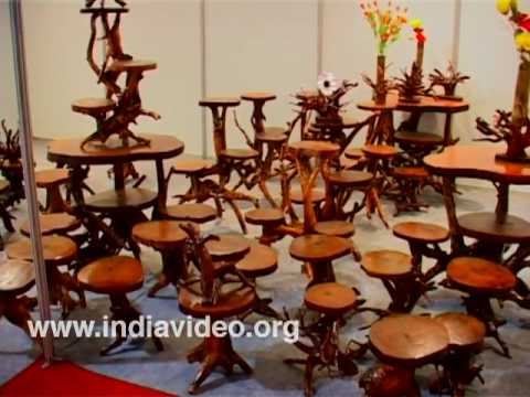 The exquisite wood furniture at Dilli Haat
