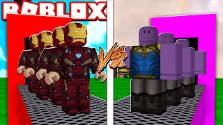 IRON MAN FACTORY VS THANOS FACTORY IN ROBLOX!! (Super Hero Tycoon)