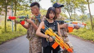 Superhero action S.W.A.T & Beautiful Girl Nerf guns The Hidden Face & Man Escaped Nerf war 2