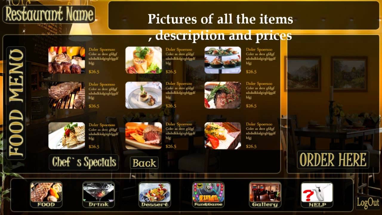 Menu Screen For Restaurant