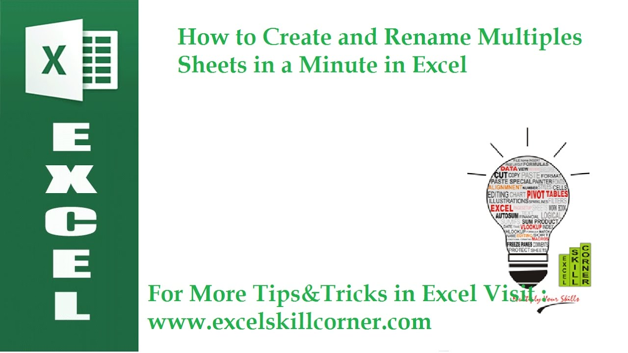 How To Create And Rename Multiples Sheets In A Minute In Excel Youtube