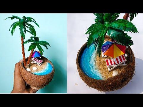 DIY Mini Beach in Coconut shell | Waste Materials Craft