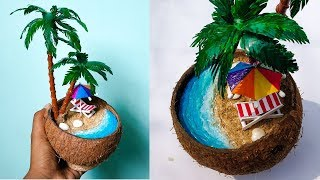 DIY Mini Beach in Coconut nut shell | Waste Materials Craft