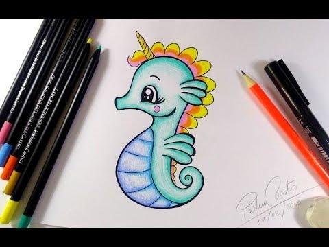 Como Desenhar Cavalo Marinho Unicornio Kawaii Passo A Passo