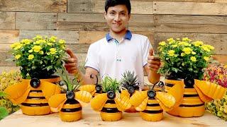 Recicle Garrafas de Plástico em Vasos de Flores em Forma de Abelha para Decoração de Jardins