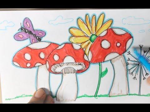 Colorido Dibujo Con Flores Una Mariposa Y Hongos Rojos Youtube