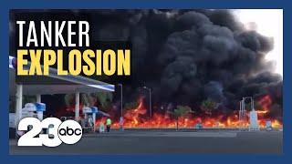 Tanker blows up, killing driver in Fresno, California