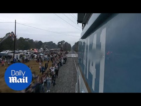 Thousands Farewell George H W Bush On Funeral Train Route Youtube