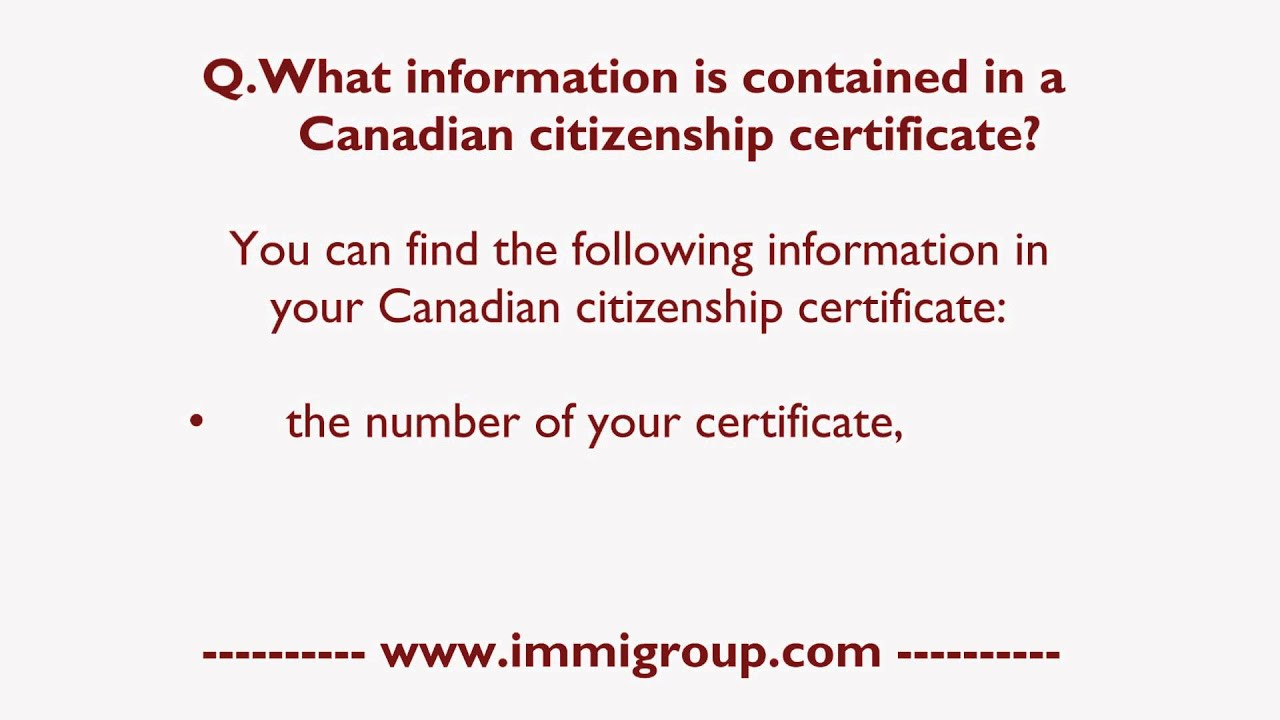 What Information Is Contained In A Canadian Citizenship Certificate