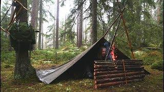 Overnight Wild Camp Iฑ the Rain - Bushcraft Canvas Poncho Shelter - Reindeer Stew