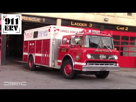 Lowell, MA Fire Department Dive Truck Responding